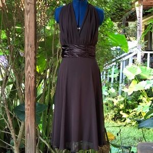 Connected | Brown Chiffon Cocktail Dress